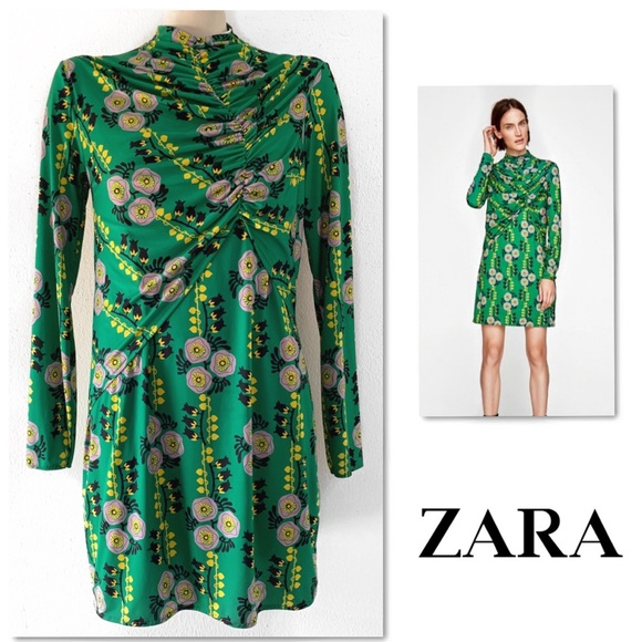 Zara Dresses & Skirts - Zara green floral print round neck draped dress